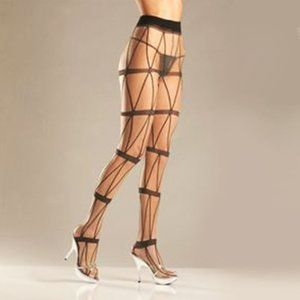 ✨ NWT Faux Lace-up Chain Pantyhose